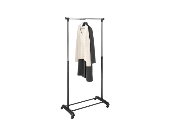 Whitmor Adjustable Garment Rack With Wheel Black Chrome