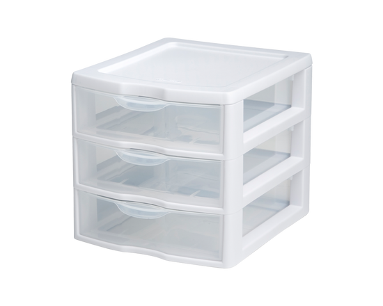 Sterilite 3 Drawer Mini Organiser White