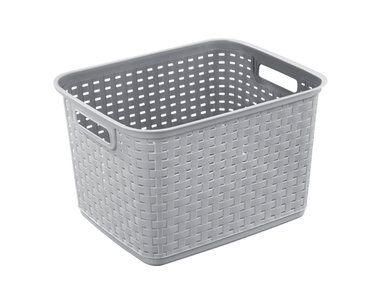Sterilite Tall Weave Basket Cement Grey