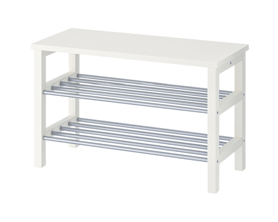 IKEA TJUSIG Bench with Shoe Storage White