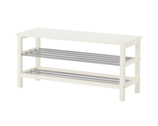 IKEA TJUSIG Bench with Shoe Storage White 108cm
