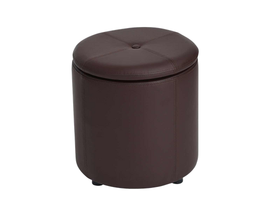 PU Leather Round Storage Ottoman Brown
