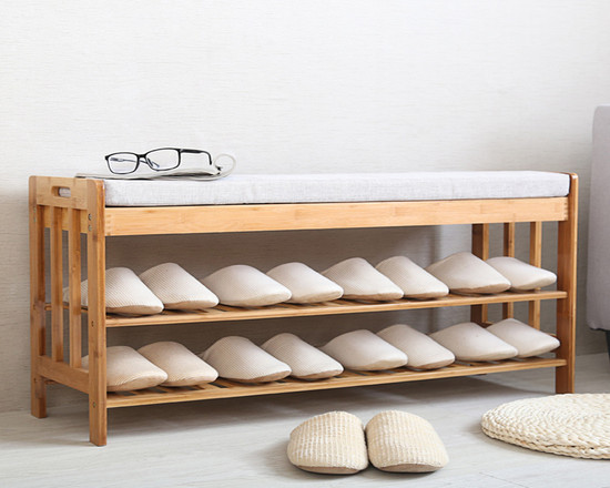 Bamboo Shoe Rack With Cushion