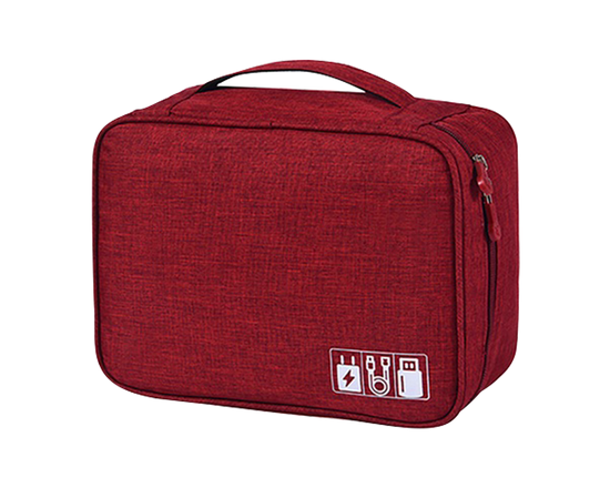 Charging Cable Travel Organiser Bag Red