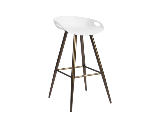 Bar Stools White Bronze Set of 2