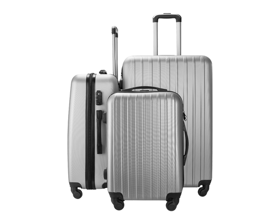 Suitcase Set Silver W/ TSA Lock