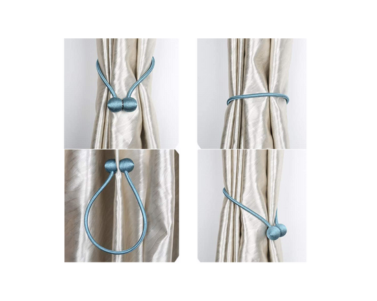 Magnetic Curtain Tie Backs Blue 2x