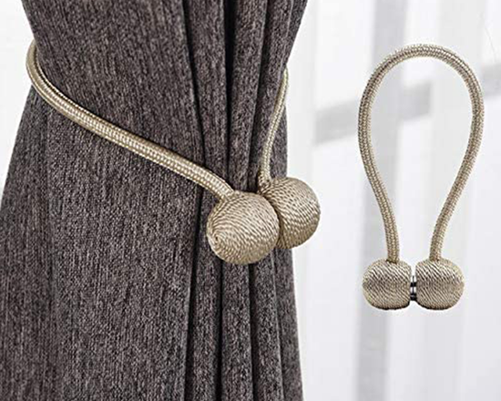 Magnetic Curtain Tie Backs Gold 2x