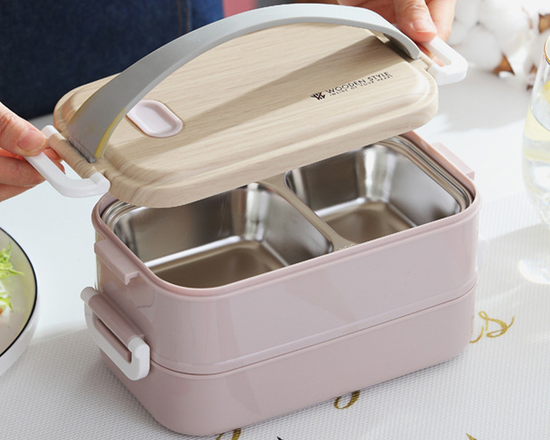 Bento Lunch Box With Handle Pink