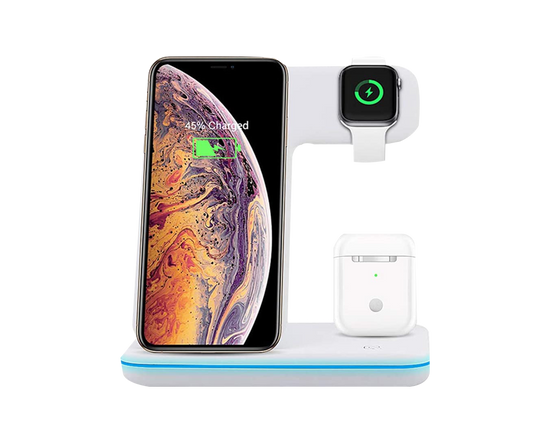 Fast Wireless Charging Dock Station 3 in 1 White