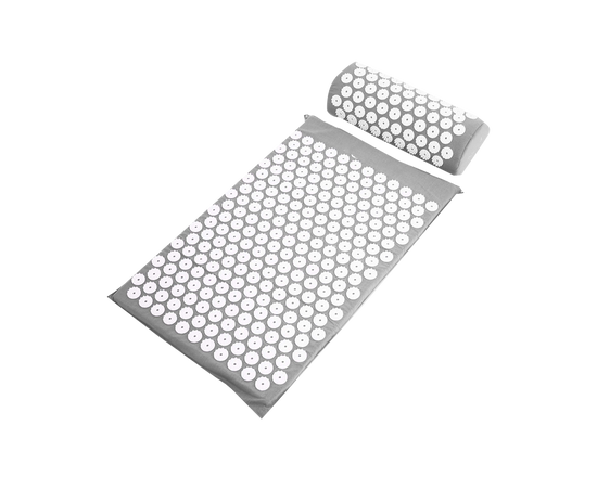 Acupressure Spike Mat Pillow Set Grey