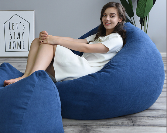 Cotton Indoor Bean Bag Washable Cover Navy