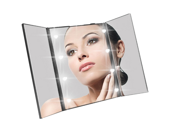 Tri-fold LED Makeup Mirror Black
