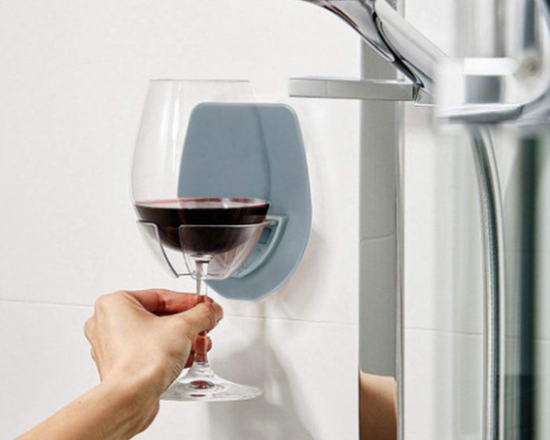 Silicone Wall Mounted Wine Glass Holder Grey