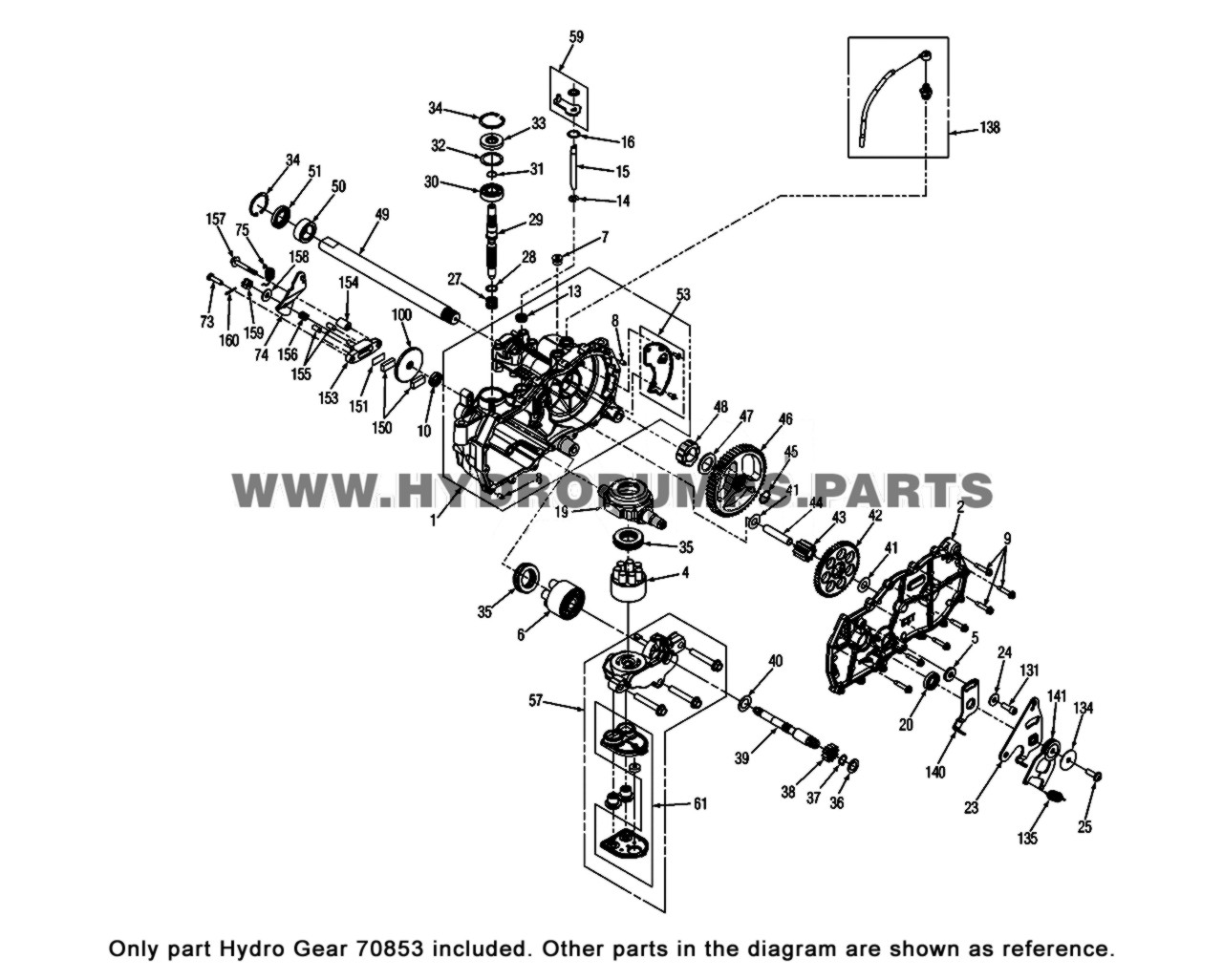Parts lookup Hydro Gear 70853 Seal Kit OEM diagra,