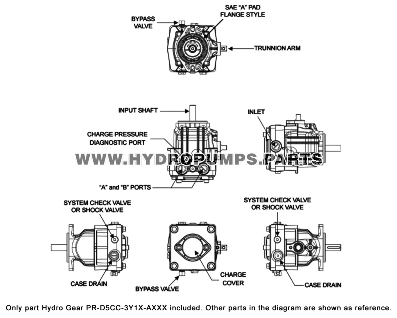 Parts lookup Hydro Gear PR-D5CC-3Y1X-AXXX PR Series Hydraulic Pump OEM diagram