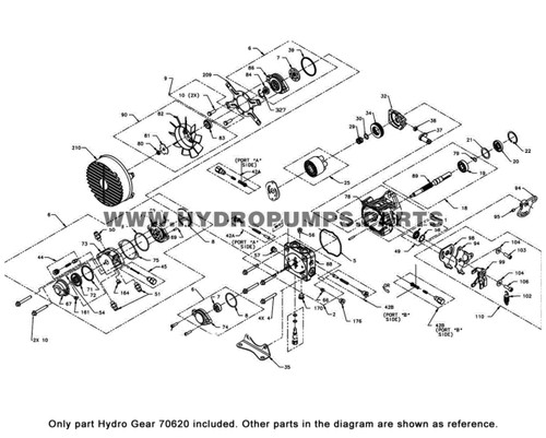 Parts lookup Hydro Gear 70620 Shaft Kit OEM diagram