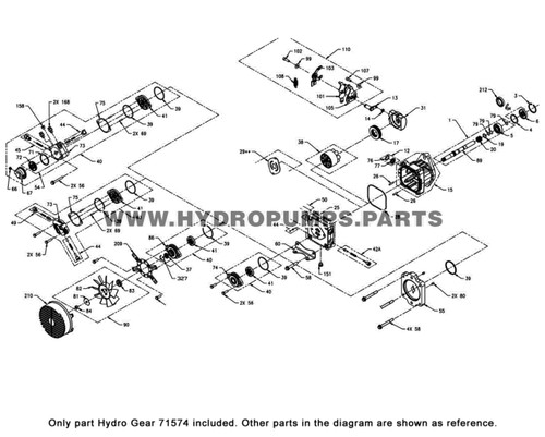 Parts lookup Hydro Gear 71574 LH Cover Side Kit OEM  diagram