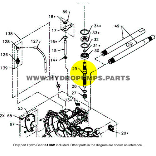 Parts lookup Hydro Gear 51062 Shaft Input OEM  diagram