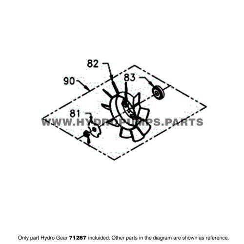 Parts lookup Hydro Gear 71287 Fan Kit OEM diagram