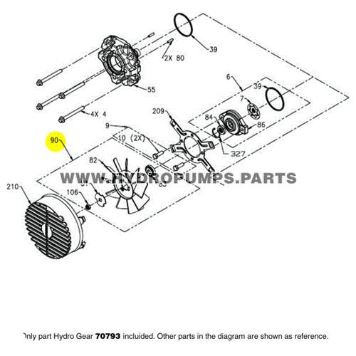 """Hydro Gear 70793 PJ Hub 7"""" Fan Assembly OEM"""