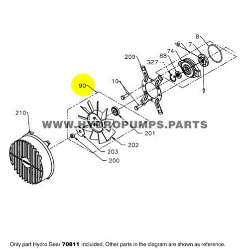 "Parts lookup Hydro Gear 70811 PG Hub & 7"" Fan Assembly OEM diagram"