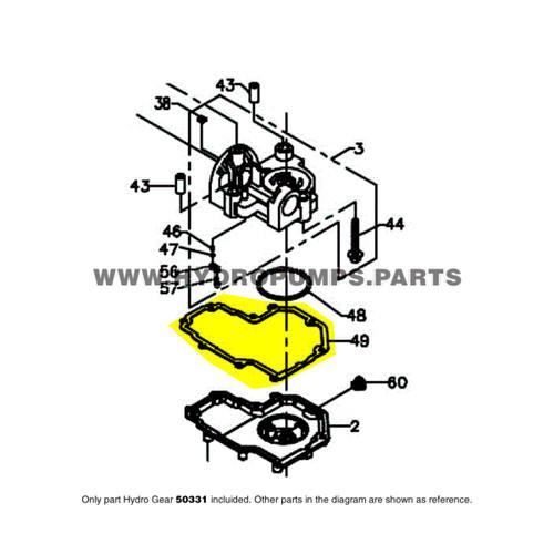 Parts lookup Hydro Gear 50331 BDR Gasket OEM diagram