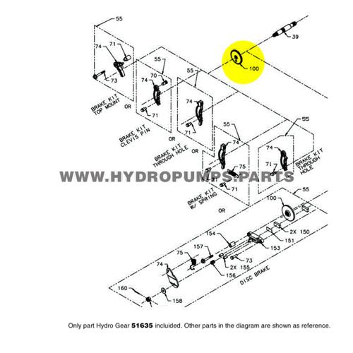 Parts lookup Hydro Gear 51635 Disc Cog Brake OEM diagram