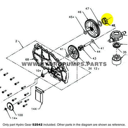 Parts lookup Hydro Gear 52542 Sleeve Inboard Bearing OEM diagram