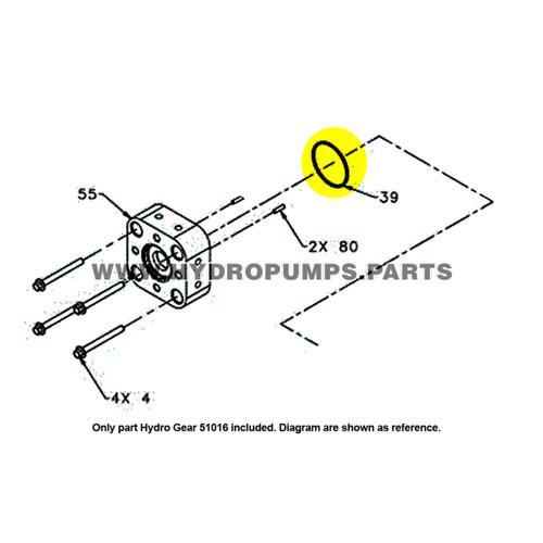 Parts lookup Hydro Gear 51016 O Ring OEM diagram