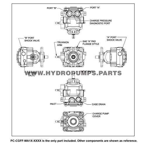 Parts lookup Hydro Gear PC-CGFF-MA1X-XXXX PC Series Pump OEM diagram