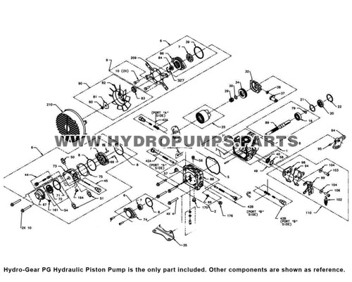 Parts lookup Hydro-Gear PG Hydraulic Piston Pump diagram