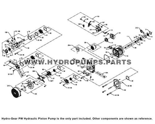 Parts lookup Hydro-Gear PW Hydraulic Piston Pump diagram