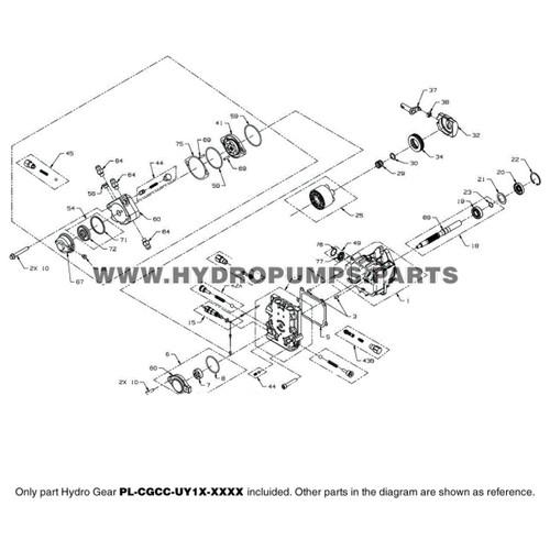 Parts lookup Hydro Gear PL-CGCC-UY1X-XXXX PL Series Pump OEM diagram