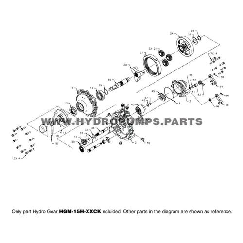 Parts lookup Hydro Gear HGM-15H-XXCK HGM-H Hydraulic Motor OEM diagram