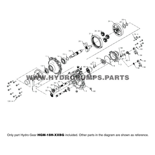 Parts lookup Hydro Gear HGM-18H-XXBG HGM-H Hydraulic Motor OEM diagram