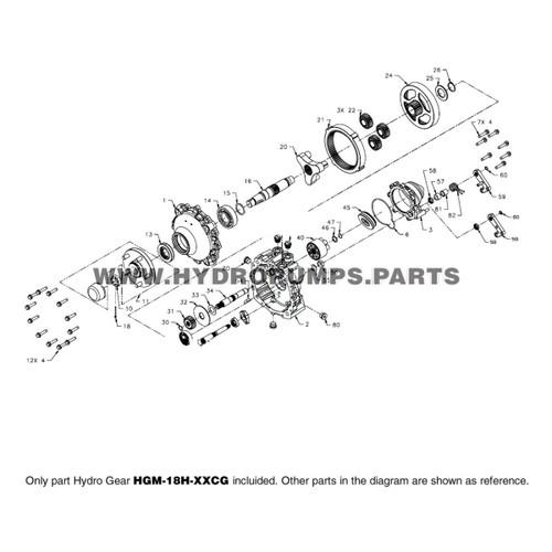 Parts lookup Hydro Gear HGM-18H-XXCG HGM-H Hydraulic Motor OEM diagram