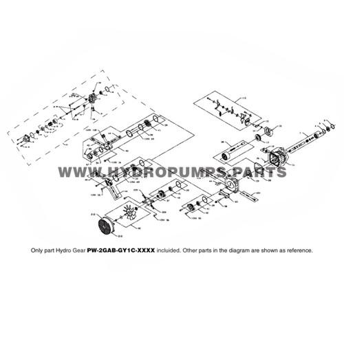 Parts lookup Hydro-Gear PW-2GAB-GY1C-XXXX PW Hydraulic Piston Pump OEM diagram