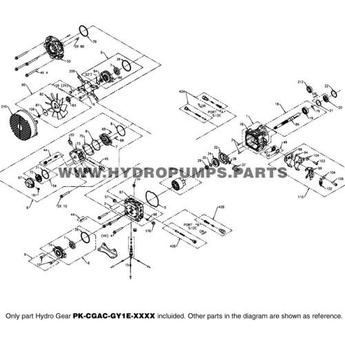 Parts lookup Hydro-Gear PK-CGAC-GY1E-XXXX PK Hydraulic Piston Pump OEM diagram