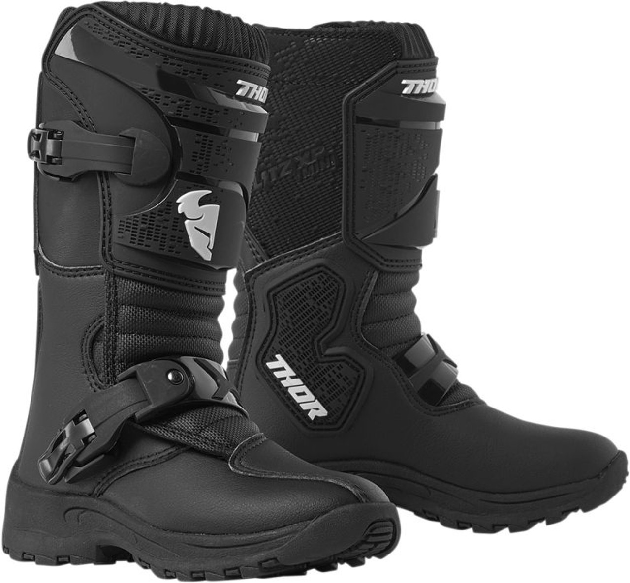 Black//White 10 Answer Racing Pee Wee Youth Boys Off-Road Motorcycle Boots