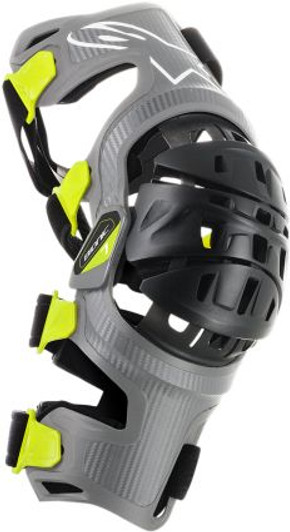 Bionic-7 Off-Road Motocross Knee Brace Set Small, Silver Yellow Fluo