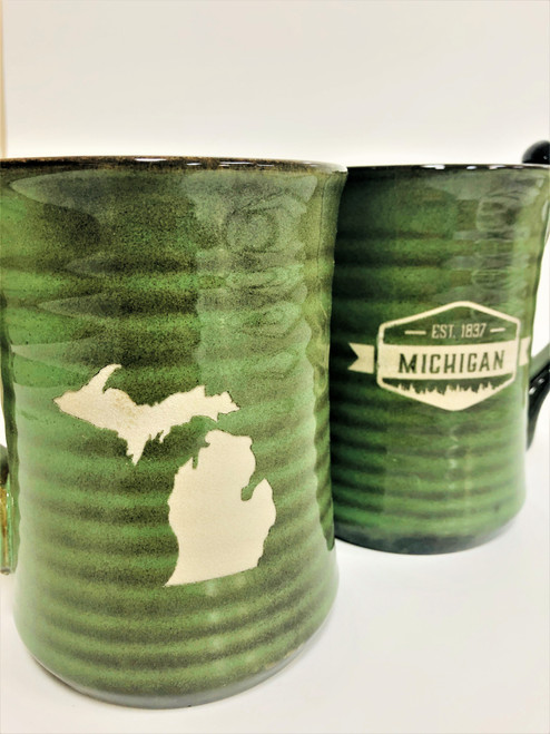 Tall MI Pottery Mug-Green