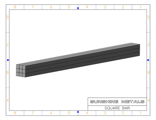 """2024 1.00"""" T851 Square Bar Cold Finished (IN0001749)"""