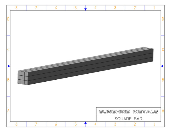 """2024 0.25"""" T4 Square Bar Cold Finished (IN0003747)"""