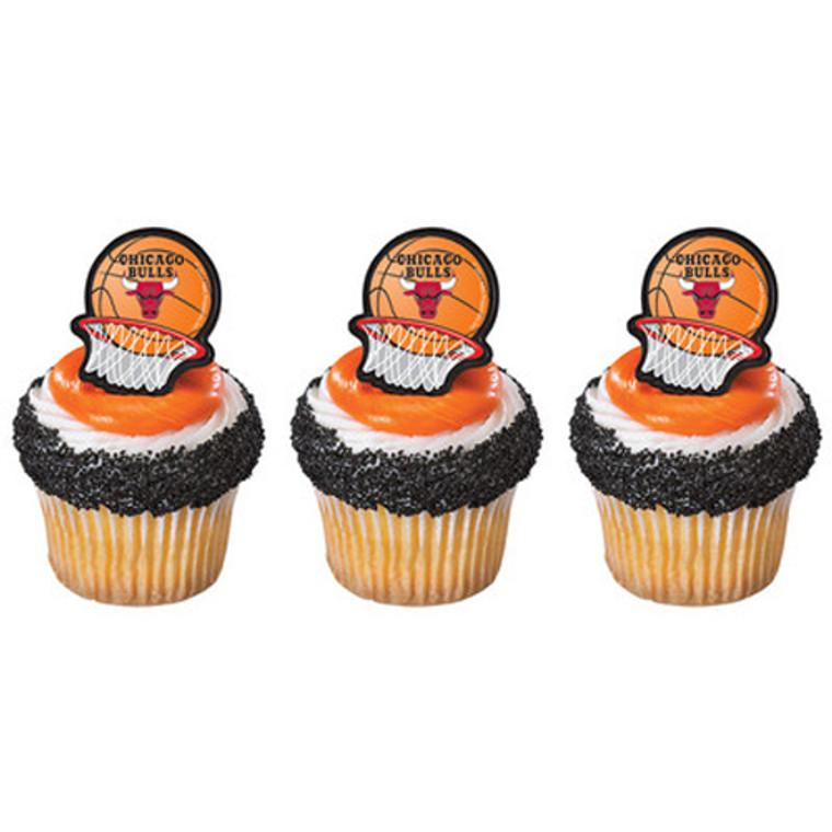 12 ct  NBA Basketball CHICAGO BULLS Birthday Party Cupcake Picks Rings