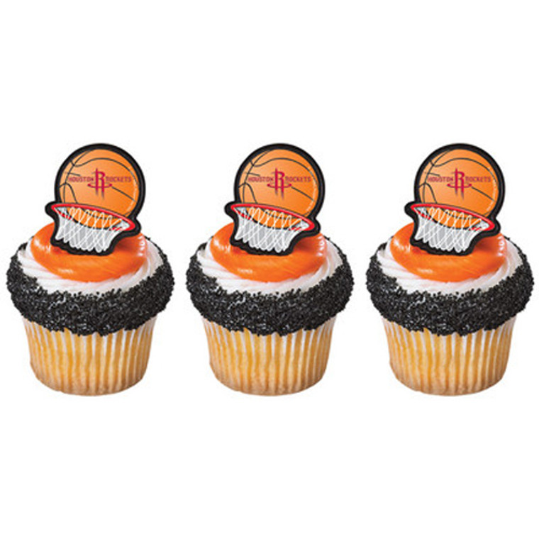 12 ct  NBA Basketball HOUSTON ROCKETS Birthday Party Cupcake Picks Rings