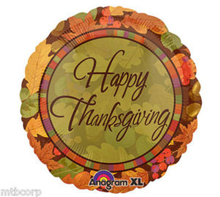 "18"" Falling Leaves Happy Thanksgiving Fall Autumn  Party Balloon"