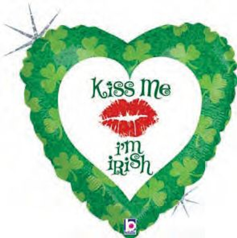 "18"" KISS ME - I'm IRISH St. Patrick's Party Bar Pub SHINY Balloon Decorations"