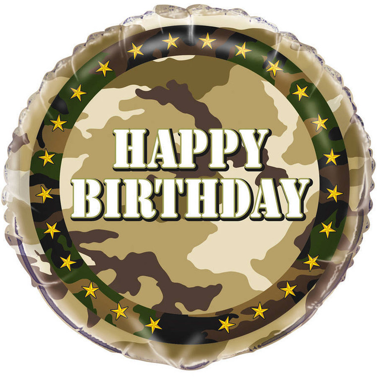 Camouflage Round HAPPY BIRTHDAY Camo Military Army Party Balloon