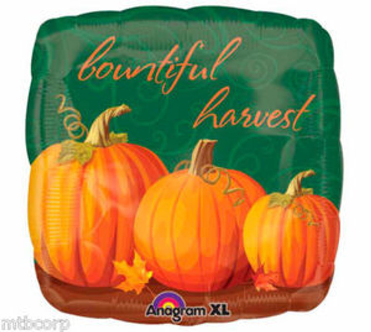 "18"" Square Bountiful Harvest PUMPKINS Thanksgiving Fall Autumn  Party Balloon"